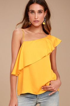 Step up your style game with the Chic Frills Yellow Satin One Shoulder Top! Soft satin fabric shapes this fun one shoulder blouse with a fluttering flounce and straight-cut bodice. Moda Zara, What Is Trending Now, What's Trending, Satin Top, Living At Home, One Shoulder Tops, Dressy Tops, Couture, Satin Fabric