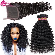 Hair Weft Closure ( Bang) Peruvian Deep Wave With Closure 3/4 Bundles Peruvian Virgin Hair With Closure Deep Curly Human Hair With Closure And Baby Hair -- AliExpress Affiliate's Pin. Find similar products by clicking the image