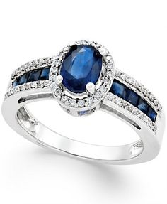 Sapphire (1-3/4 ct. t.w.) and Diamond (1/4 ct. t.w.) Ring in 14k Gold (Also in Emerald and Ruby) | macys.com