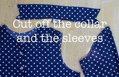 Throwback Saturday: Polka Dot Shirt Redesign Tutorial – The Renegade Seamstress Revamp Clothes, Reuse Clothes, Sewing Clothes, Sewing Projects For Beginners, Sewing Tutorials, Sewing Ideas, Sewing Patterns, Sewing Diy, Clothes Patterns