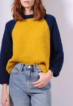 Moderately fitted, this sweater ends at the high hip, meeting the top of your waistband and features classic baseball color blocking. Fabric Alpaca, Polyamide Model wearing a size 0 Essential Wardrobe Pieces, Size 0 Models, Tailored Jacket, Color Blocking, Hand Knitting, Product Launch, Turtle Neck, Menswear