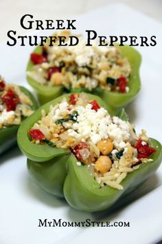 Greek Orzo Stuffed Peppers...delicious steamed pepper with orzo, spinach, and feta cheese