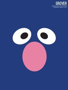Sesame Street Grover Illustration Poster via design. bake. run.