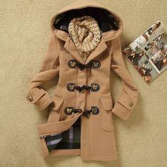 Fashion Womens Winter Coats Trench Coat Wool Jackets Toggle Duffel Parka Anorak #NEW #TrenchCoat