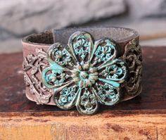 Ever Designs Jewelry - Forgotten Garden Leather Cuff, $65.00 (http://www.everdesigns.com/forgotten-garden-leather-cuff/)