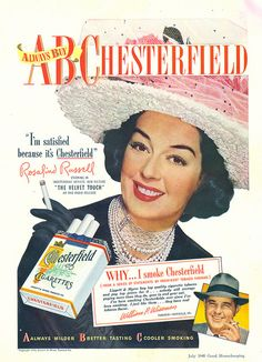 Rosalind Russell for Chesterfield Cigarettes, 1948-(via File Photo)- on Flickr.