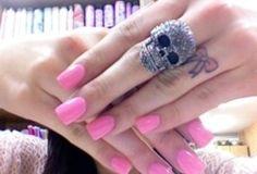 tattoo ideas, nail polish, ring tattoos, colorful nails, pink nails