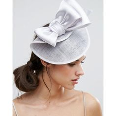 Vixen Bow Detail Fascinator Hat ($89) ❤ liked on Polyvore featuring accessories, hats, silver, fascinator hat, hair fascinators and bow hat