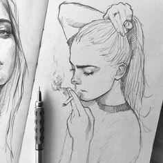 art sketchbook Put together me pencil_arts_group . Art by Pencil Art Drawings, Art Drawings Sketches, Cute Drawings, Pencil Sketching, Girl Pencil Drawing, Pencil Sketch Art, Sketches Of Girls, Tumblr Sketches, Unique Drawings