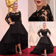 87th Oscar Awards Kelly Osbourne Black Long Lace Sleeves Celebrity Formal Evening Dresses Hi Lo A Line Short Party Prom Gowns Plus Size Banquet Dresses Cheap Dress From Beautydesign, $131.94| Dhgate.Com