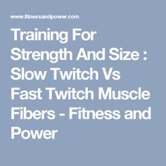 Training For Strength And Size : Slow Twitch Vs Fast Twitch Muscle Fibers - Fitness and Power