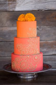 Orange and gold cake | Wedding & Party Ideas | 100 Layer Cake