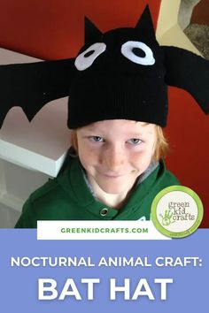Whether you are looking for a nocturnal animal craft or the perfect Halloween bat hat, we got you covered with this awesome bat hat project. #nocturnalanimals #batcraft #preschool #learningathome #earlylearning #kidsactivities #greenkidcrafts Green Crafts For Kids, Easy Crafts For Kids, Toddler Crafts, Creative Crafts, Preschool Crafts, Projects For Kids, Diy For Kids, Diy And Crafts, Science For Kids