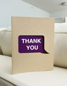 Thank You Speech Bubble Brown Recycle Kraft Paper Card