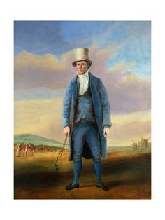 """""""The Hole Maker"""" by R.S.E. Gallen (c. 1835), a portrait of """"Old Alick"""" Brotherton, groundskeeper of Royal Blackheath Golf Club."""