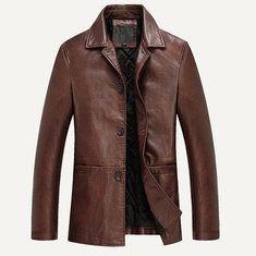 Men/'s Casual Blazer Classic Brown  2 button Biker Suede Leather Jacket XS-5XL
