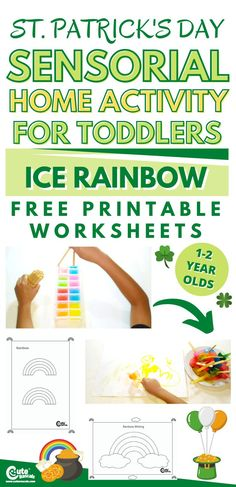 Engage your toddlers with a fun sensory play activity. Check out the cool ice rainbow St. Patrick's Day activity for toddlers. #StPatricksDay #Irish #kidsactivities #homeactivityforkids #indooractivityforkids #preschool #preschoolers #kindergarten #freeprintables #kidsworksheets #printableworksheets #worksheetsforpreschoolers #finemotorskills #boredkids #funactivitiesforkids #kidscrafts #craftsforkids #toddleractivities #sensoryplay #sensorialactivities