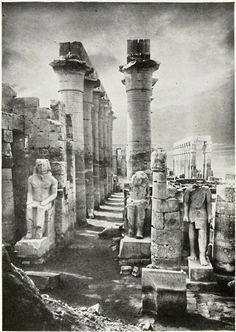The Temple of Amon, Luxor, Egypt.  early photos