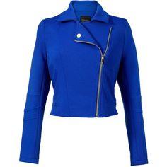 Thalia Sodi Long-Sleeve Knit Moto Jacket (90 375 LBP) ❤ liked on Polyvore featuring outerwear, jackets, motorcycle jacket, blue biker jacket, biker jacket, knit jacket and knit biker jacket