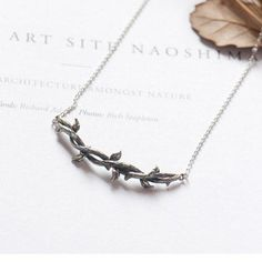 Sterling Silver Necklace Branches Bramble Necklace Pendant Necklace Gift Jewelry Accessories Girls Women