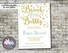 Brunch & Bubbly Bridal Shower Invitation by PurplelephantDesigns