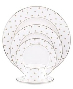The playfully chic kate spade new york Larabee Road Platinum Dinnerware will enliven any table setting. Pretty polka dots and banding in platinum paired with bone china create a sly but sophisticated look that is perfect for relaxed fine dining. Dinnerware Sets, China Dinnerware, Kate Spade, New York, China Patterns, Dot Patterns, Place Settings, Table Settings, Fine Dining