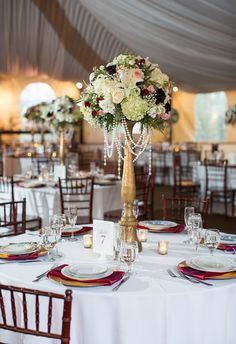 Ruby red linens, dripping crystals, glam reception // Eder Photo