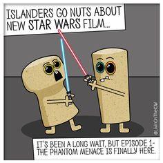 Islanders go nuts about new Star Wars film #isleofwight #iow #banter #illustration #cartoon #2dart #graphicdesign #caulkheads #islandlife #humour #StarWars