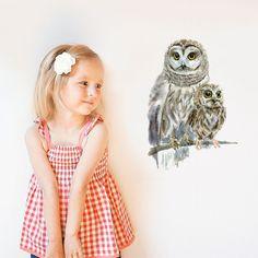 Woodland Owls - フクロウの親子のデカールステッカー by chocovenyl