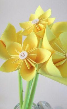 Yellow Origami Paper Flower Assortment Set of 5 | Danamazing1221 - Wedding on ArtFire