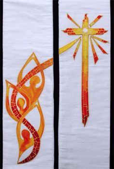 W54 : Ivory dupion silk stole with flame people and cross