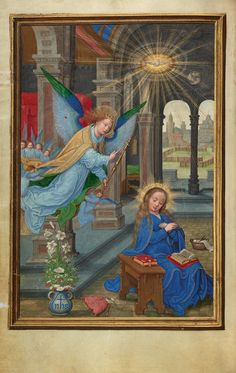 """The Annunciation,"" about 1525 - 1530, Simon Bening. Tempera colors, gold paint, and gold leaf on parchment."