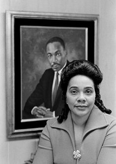 Beautiful photo of Coretta with MLK Jr in background #she stood by her man and his drem