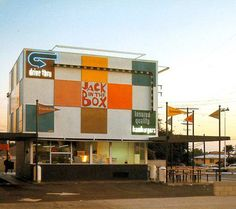 Really Retro! The first Jack in the Box restaurant in San Antonio on the corner of San Pedro & Hildebrand, across the street from the original Taco Cabana. Both still stand there today but Jack's sure doesn't look like this anymore.