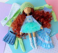 Cloth brunette curly doll Stella Dress up doll от BonecasDaYulia