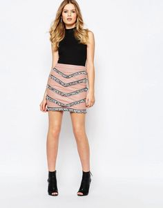 Image 1 ofGoldie Empire Faux Leather Skirt With Tassel Trims