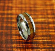 Dome Tungsten Carbide Ring with Koa Wood Inlay and Faceted Cutting - Wedding Ring - 8MM - Wedding Ring - Engagement Ring