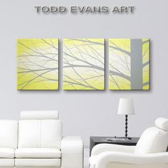 Grey And Yellow Wall Art 48x20 inches, 3 piece wall art set, light yellow paintings, large