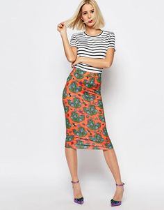 House of Holland | House of Holland Cactus Print Tube Skirt at ASOS