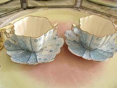 •.¸.•´ ` ❤☆.¸.☆ *❤•.¸.•´ `•.¸.•´ Pre Shelley Wileman Foley Pair  Blue Cream Soup Cups  Saucers $98.00 •.¸.•´ ` ❤☆.¸.☆ *❤•.¸.•´ `•.¸.•´