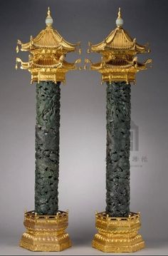 Qing dynasty 1644-1911, Pair of Green Jade Incense Burners, consists of three parts: the gilt copper Pagoda on top, the green jade tube carved with dragon-among-cloud motif in the middle, and gilt copper sumeru stand. @ The Palace Museum