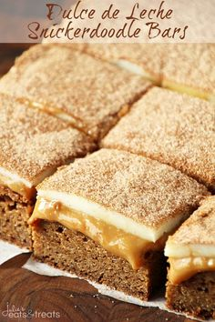 """<h3 style=""""margin: 0px; padding: 0px; font-weight: normal; font-size: 20px; color: #556270; font-family: Questrial, sans-serif; text-align: center;"""">Dulce de Leche Snickerdoodle Bars ~ chewy snickerdoodle crust topped with a layer of dulce de leche and then white chocolate and cinnamon sugar! Recipe <a href=""""http://www.julieseatsandtreats.com/dulce-de-leche-snickerdoodle-bars/"""" target=""""_blank"""">HERE.</a></h3>"""
