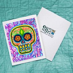 Day of the Dead, Dia de los Muertos Sugar Skull Greeting Card on @Etsy , $2.50