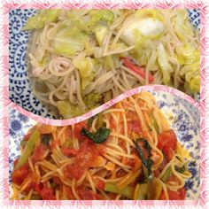 ベーコンと小松菜のトマトパスタ。 キャベツとカニカマのアンチョビパスタ。