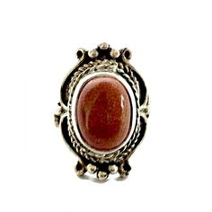 Southwestern Sterling Silver Ring with Burnt Orange Large Goldstone  Hallmarked Size 11 9860e475fa3