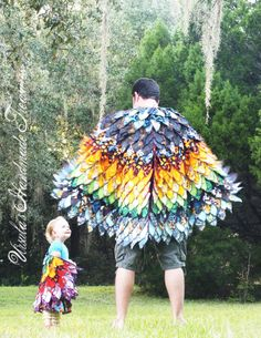 Dress up Bird Wings, ADULT SIZE.  Wings of a birdie.  Made from New and Upcycled material. Custom made.