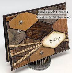 The Tailored Tag punch teams up with Wood Textures DSP to create this inlaid wood effect for a masculine card. Masculine Birthday Cards, Masculine Cards, Cool Cards, Diy Cards, Goodbye Cards, Card Making Tutorials, Diy Origami, Wood Texture, Card Sketches