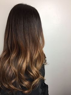 Brunette balayage, sombre and long layers on thick hair