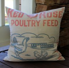 Vintage Feedsack Pillow Cover - Red Rose Chicken Feed  - Red White Blue - Chick - Farm Pillow