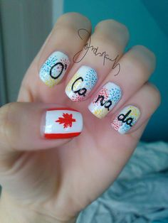 Happy Canada Day Nails Im doing this all the time, eh! Nail Art For Kids, Cool Nail Art, Simple Nail Designs, Nail Art Designs, Red Nails, Hair And Nails, Country Nail Art, Kids Nail Polish, Sculpted Gel Nails